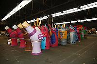 Nice, le 26 Janvier 2016 - La Maison du Carnaval : construction des tetes et des chars de Carnaval - Tetes de Carnaval