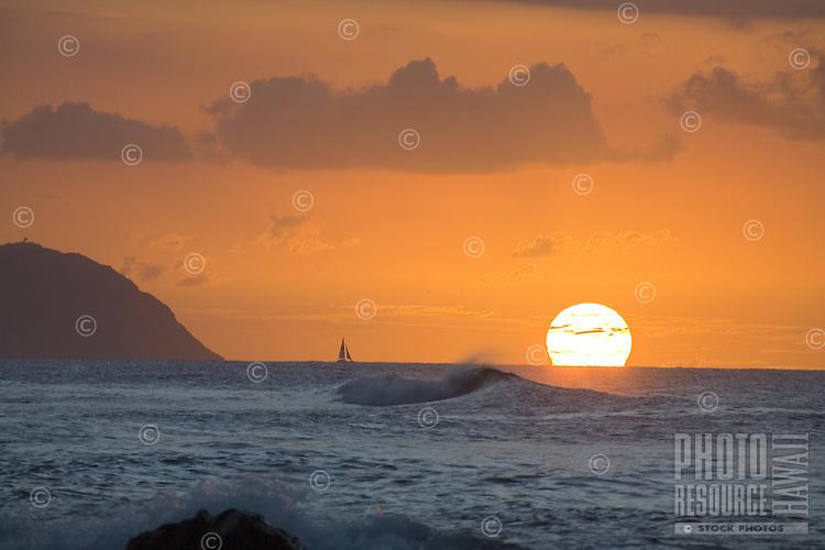 "Sunset off Kaena Point, at """"Leftovers"""" Beach, Near Haleiwa, Hawaii"