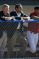 June 21st, 2007:  Assistant General Manager John Mozeliak watches the Batavia Muckdogs, Short-Season Class-A affiliate of the St. Louis Cardinals at Dwyer Stadium in Batavia, NY.  Photo by:  Mike Janes/Four Seam Images