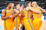 Herbalife Gran Canaria's players celebrating the victory during the final of Supercopa of Liga Endesa Madrid. September 24, Spain. 2016. (ALTERPHOTOS/BorjaB.Hojas)