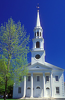 AJ1410, college, Massachusetts, church, Williams College, The Berkshires, Congregational Church at Williams College in Williamstown, Massachusetts in the spring.