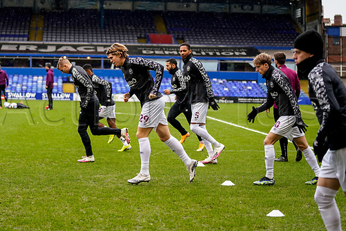 20th February 2021; St Andrews Stadium, Coventry, West Midlands, England; English Football League Championship Football, Coventry City v Brentford; Mads Bech Sørensen of Brentford leads the ways in the team warm up
