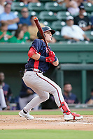 Center fielder Jesse Franklin V (33) of the Rome Braves in a game against the Greenville Drive on Wednesday, August 4, 2021, at Fluor Field at the West End in Greenville, South Carolina. (Tom Priddy/Four Seam Images)