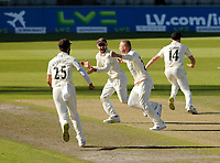 30th May 2021; Emirates Old Trafford, Manchester, Lancashire, England; County Championship Cricket, Lancashire versus Yorkshire, Day 4; Elation for Matt Parkinson and the Lancashire players as the last Yorkshire wicket falls for 271 and the Red Rose claims victory by an innings and 79 runs