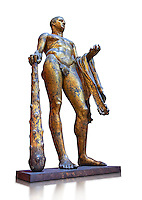 Gilded bronze 1st century AD Roman statue of Hercules found buried near Pompey's Theatre having possibly been struck by lightening and given a customary Roman burial. A Roman copy of a Hellenistic Athenian staue from around 390-370 BC, Vatican Museum Rome, Italy,  white background