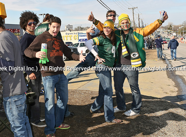 Green Bay Packer fans participate in pre-game activities and celebrations before Super Bowl XLV in Arlington,Texas.