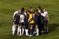 Sky Blue FC huddles before the start of the second half. The Western New York Flash defeated Sky Blue FC 2-0 during a National Women's Soccer League (NWSL) semifinal match at Sahlen's Stadium in Rochester, NY, on August 24, 2013.