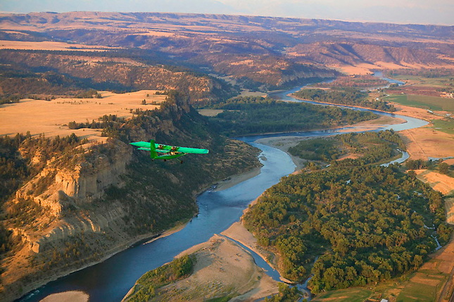 Flying over Yellowstone River