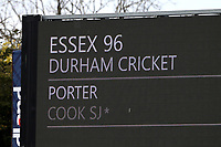The scoreboard shows that Essex have been bowled out for 96 in their first innings during Essex CCC vs Durham CCC, LV Insurance County Championship Group 1 Cricket at The Cloudfm County Ground on 15th April 2021