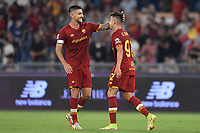 Stephan El Shaarawy of AS Roma celebrates with Lorenzo Pellegrini of AS Roma after scoring  the goal of 2-1  during the Serie A football match between AS Roma and US Sassuolo at Olimpico stadium in Rome (Italy), September 12th, 2021. Photo Antonietta Baldassarre / Insidefoto