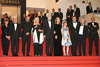 JEAN-LOUIS TRINTIGNANT, DIRECTOR MICHAEL HANEKE, ISABELLE HUPPERT, FANTINE HARDUIN, FRANZ HARDUIN AND TOBY JONES - RED CARPET OF THE FILM 'HAPPY END' AT THE 70TH FESTIVAL OF CANNES 2017