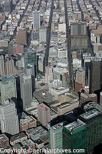 aerial photograph Geary Street Union Square San Francisco financial district