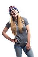 Professional rock climber, Shauna Coxsey posing for a portrait at the LWimages Studio in New Mills, High Peak, United Kingdom on April 14, 2015.<br /> Shauna Coxsey (born 27 January 1993) is an English professional rock climber, she came second in the IFSC Bouldering World Cup in 2014.