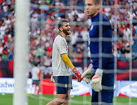 NASHVILLE, TN - SEPTEMBER 5: Matt Turner #1 of the United States warms up during a game between Canada and USMNT at Nissan Stadium on September 5, 2021 in Nashville, Tennessee.