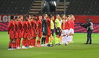 Referees, Belgian and Danish players at the line up before  a soccer game between the national teams Under21 Youth teams of Belgium and Denmark on the fourth matday in group I for the qualification for the Under 21 EURO 2023 , on tuesday 12 th of october 2021  in Leuven , Belgium . PHOTO SPORTPIX   STIJN AUDOOREN