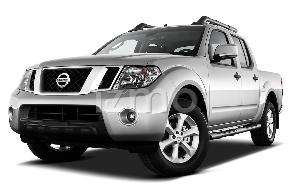 Low aggressive front three quarter view of 2010 Nissan Navara LE 4 door Pick-Up Truck.