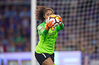 Orlando, FL - Saturday March 24, 2018: Utah Royals goalkeeper Abby Smith (1) pulls down a cross during a regular season National Women's Soccer League (NWSL) match between the Orlando Pride and the Utah Royals FC at Orlando City Stadium. The game ended in a 1-1 draw.