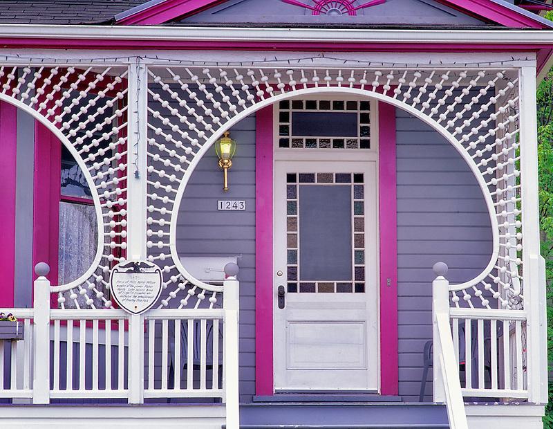 Decorative door of house in Astoria, Oregon.