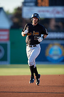 West Virginia Black Bears Luke Mangieri (17) rounds the bases after hitting a home run during a NY-Penn League game against the Batavia Muckdogs on June 27, 2019 at Dwyer Stadium in Batavia, New York.  West Virginia defeated Batavia 6-5 in ten innings.  (Mike Janes/Four Seam Images)