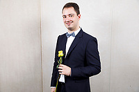Contestant Julien Sabbague of France poses at a photo booth during the opening reception and dinner of the 11th USA International Harp Competition at Indiana University in Bloomington, Indiana on Wednesday, July 3, 2019. (Photo by James Brosher)