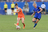 Frisco, TX - Sunday September 03, 2017: Cari Roccaro and Merritt Mathias during a regular season National Women's Soccer League (NWSL) match between the Houston Dash and the Seattle Reign FC at Toyota Stadium in Frisco Texas. The match was moved to Toyota Stadium in Frisco Texas due to Hurricane Harvey hitting Houston Texas.