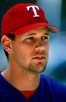 Aaron Sele of the Texas Rangers plays in a baseball game at Edison International Field during the 1998 season in Anaheim, California. (Larry Goren/Four Seam Images)