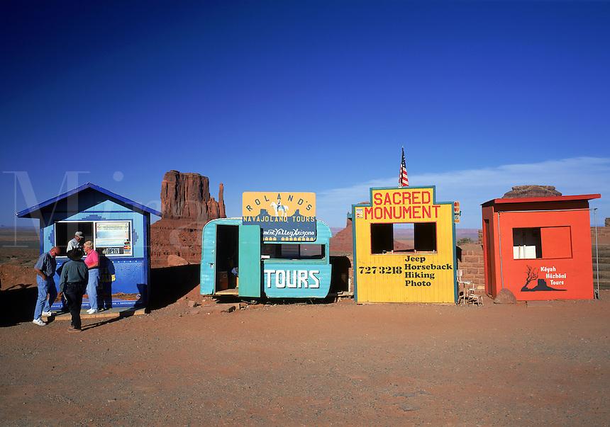 Tourist kiosks provide ironic contrast to the Monument Valley landscape. Arizona.