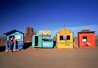 Tourist kiosks provide ironic contrast to the Monument Valley landscape. Arizona.
