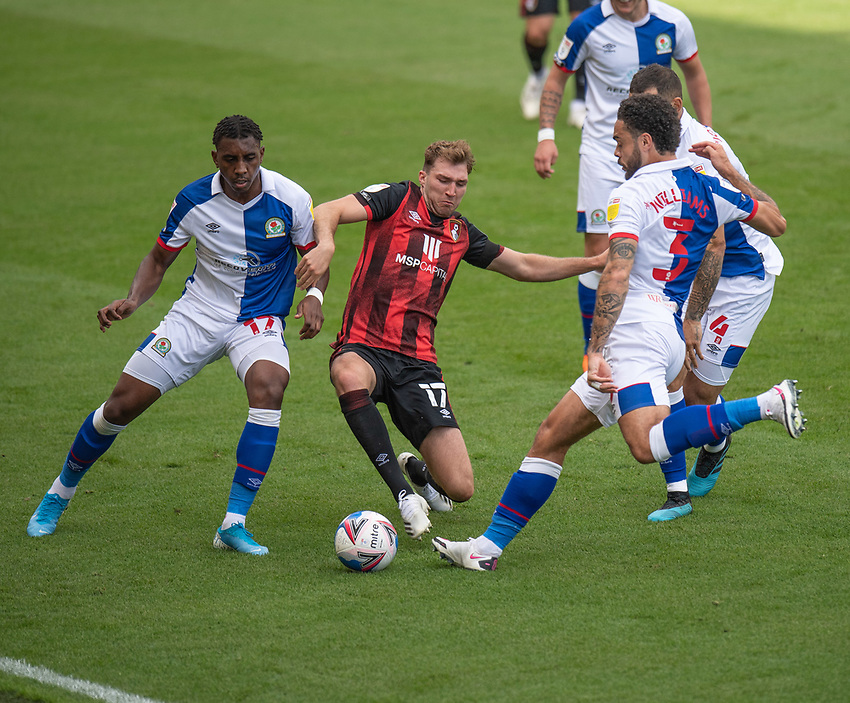 Blackburn Rovers' Amari'i Bell (left) & Blackburn Rovers' Derrick Williams (right) battles with Bournemouth's Jack Stacey (centre)<br /> <br /> Photographer David Horton/CameraSport <br /> <br /> The EFL Sky Bet Championship - Bournemouth v Blackburn Rovers - Saturday September 12th 2020 - Vitality Stadium - Bournemouth<br /> <br /> World Copyright © 2020 CameraSport. All rights reserved. 43 Linden Ave. Countesthorpe. Leicester. England. LE8 5PG - Tel: +44 (0) 116 277 4147 - admin@camerasport.com - www.camerasport.com