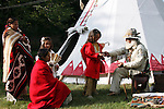 Lakota Sioux Native American Indian Family trading with a Mountain Man