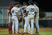 Johnson City Cardinals relief pitcher Dylan Pearce (38) listens to manager Roberto Espinoza (41) during the game against the Burlington Royals at Burlington Athletic Stadium on September 4, 2019 in Burlington, North Carolina. The Cardinals defeated the Royals 8-6 to win the 2019 Appalachian League Championship. (Brian Westerholt/Four Seam Images)
