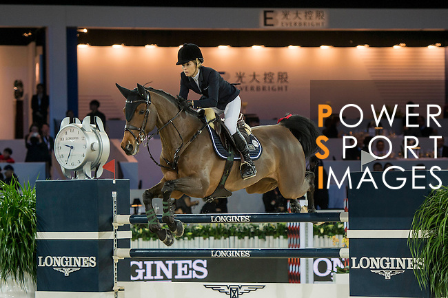 Edwina Tops-Alexander of Australia riding California during the Hong Kong Jockey Club Trophy competition, part of the Longines Masters of Hong Kong on 10 February 2017 at the Asia World Expo in Hong Kong, China. Photo by Marcio Rodrigo Machado / Power Sport Images