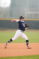 Shortstop Parker Corbin (4) throws to first base during the Perfect Game National Underclass East Showcase on January 23, 2021 at Baseball City in St. Petersburg, Florida.  (Mike Janes/Four Seam Images)