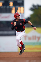 Batavia Muckdogs third baseman Bubba Hollins (34) running the bases in the bottom of the second inning during a game against the Williamsport Crosscutters on August 3, 2017 at Dwyer Stadium in Batavia, New York.  Williamsport defeated Batavia 2-1.  (Mike Janes/Four Seam Images)