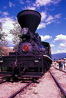 Restored 1924 Shay Steam Locomotive on Historic Kettle Valley Steam Railway, near Summerland, South Okanagan Valley, BC, British Columbia, Canada -