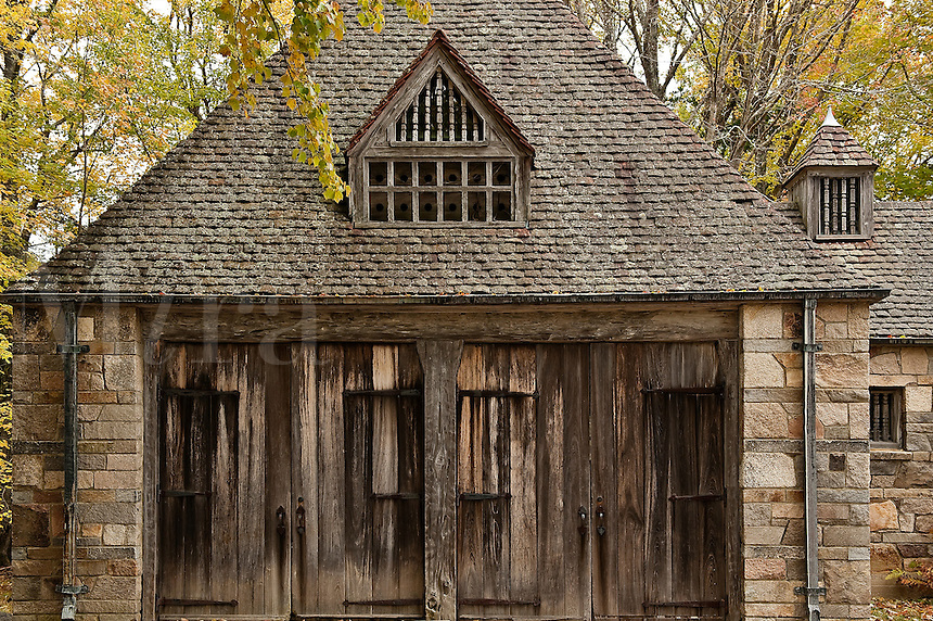 Tudor style gatehouse located by Jordon Pond within Acadia National Park. Built by John D. Rockefeller