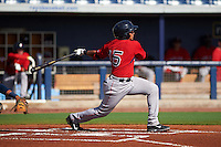 GCL Red Sox designated hitter Isaias Lucena (15) at bat during the first game of a doubleheader against the GCL Rays on August 4, 2015 at Charlotte Sports Park in Port Charlotte, Florida.  GCL Red Sox defeated the GCL Rays 10-2.  (Mike Janes/Four Seam Images)