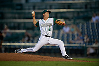 Fort Wayne TinCaps pitcher Jose Quezada (21) during a Midwest League game against the Peoria Chiefs on July 17, 2019 at Parkview Field in Fort Wayne, Indiana.  Fort Wayne defeated Peoria 6-2.  (Mike Janes/Four Seam Images)