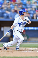 Asheville Tourists third baseman Bret Boswell (3) swings at a pitch during a game against the Greensboro Grasshoppers at McCormick Field on May 10, 2018 in Asheville, North Carolina. The Tourists defeated the Grasshoppers 14-10. (Tony Farlow/Four Seam Images)