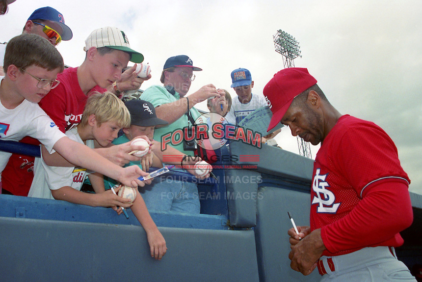 St. Louis Cardinals shortstop Ozzie Smith (1) signs autographs during Spring Training 1993 at Joker Marchant Stadium in Lakeland, Florida.  (MJA/Four Seam Images)