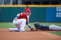 Buffalo Bisons second baseman Andy Burns (8) can not come up with the throw as Cesar Puello (21) steals second during a game against the Scranton/Wilkes-Barre RailRiders on July 2, 2016 at Coca-Cola Field in Buffalo, New York.  Scranton defeated Buffalo 5-1.  (Mike Janes/Four Seam Images)