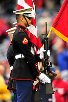 24 April 2010: Members of the United States Marines Color Guard present arms prior to a game between the Los Angeles Dodgers and the Washington Nationals at Nationals Park in Washington, DC. The Dodgers edged out the Nationals 4-3 in a thirteen inning game. Mandatory Credit: Ed Wolfstein Photo