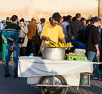 Meknes, Morocco.  Vendor of Corn on the Cob in the Place Hedime.