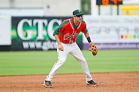 Greensboro Grasshoppers third baseman Matt Juengel (17) on defense against the Augusta GreenJackets at NewBridge Bank Park on August 11, 2013 in Greensboro, North Carolina.  The GreenJackets defeated the Grasshoppers 6-5 in game one of a double-header.  (Brian Westerholt/Four Seam Images)