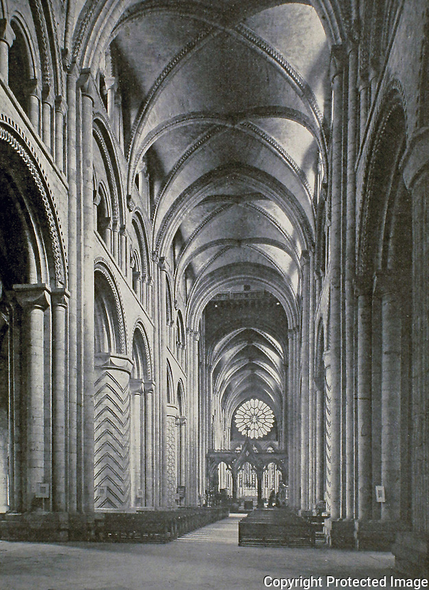 Historical photograph: Durham Cathedral, 1133. Home of the Shrine of St Cuthbert. Durham, England. UNESCO World Heritage Site.