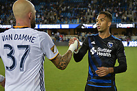 San Jose, CA - Monday July 10, 2017: Jelle Van Damme, Danny Hoesen after a U.S. Open Cup quarterfinal match between the San Jose Earthquakes and the Los Angeles Galaxy at Avaya Stadium.