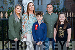 Tadgh Moylan former student of CBS NS receiving his Confirmation in St Johns Church, Tralee on Sunday standing with his family. L to r: Layla, Linda, Tadgh, Liam and Zara Moylan.