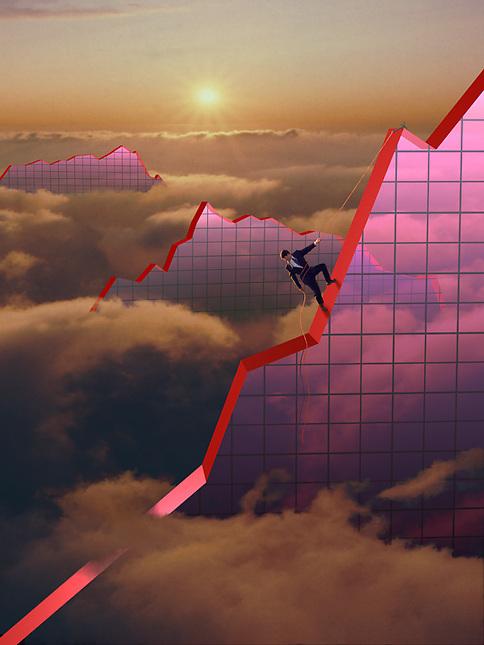 Man climbing graph mountains in the sky