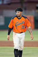 AZL Giants right fielder Diego Rincones (35) walks off the field between innings of the game against the AZL Padres 2 on July 13, 2017 at Scottsdale Stadium in Scottsdale, Arizona. AZL Giants defeated the AZL Padres 2 11-3. (Zachary Lucy/Four Seam Images)
