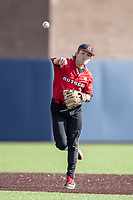 Rutgers Scarlet Knights shortstop Anthony Greco (3) warms up before the NCAA baseball game against the Michigan Wolverines on April 26, 2019 at Ray Fisher Stadium in Ann Arbor, Michigan. Michigan defeated Rutgers 8-3. (Andrew Woolley/Four Seam Images)